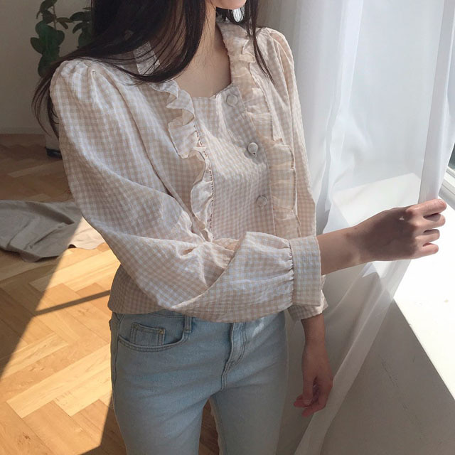 check square blouse (3color)
